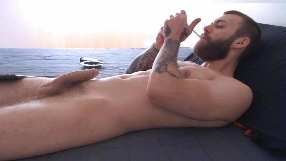 Big fat curved uncut dick big fat cum shot