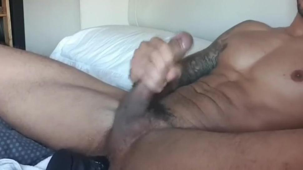 Heavy cumming mixed race guy with a dildo in his hole