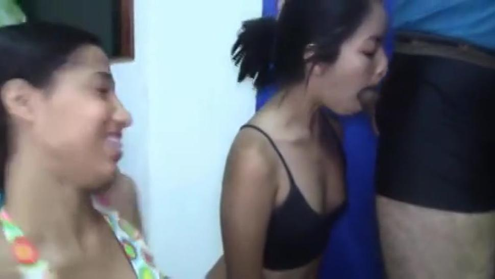My gf teaches her friend how to gag on my cock