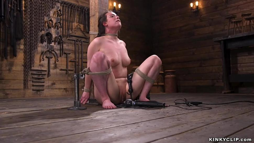 Slave in upside down bondage sucking