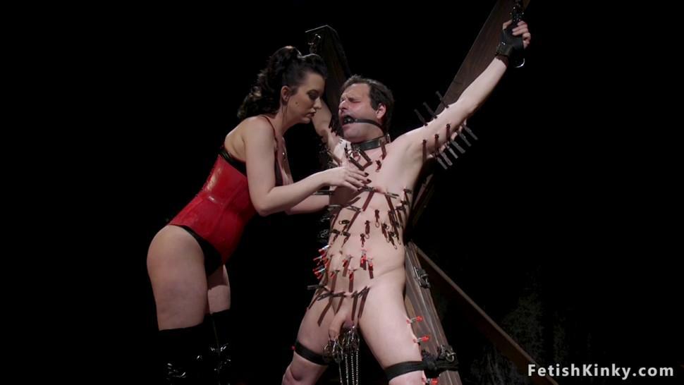 Male slave fucks mistress with gag dildo