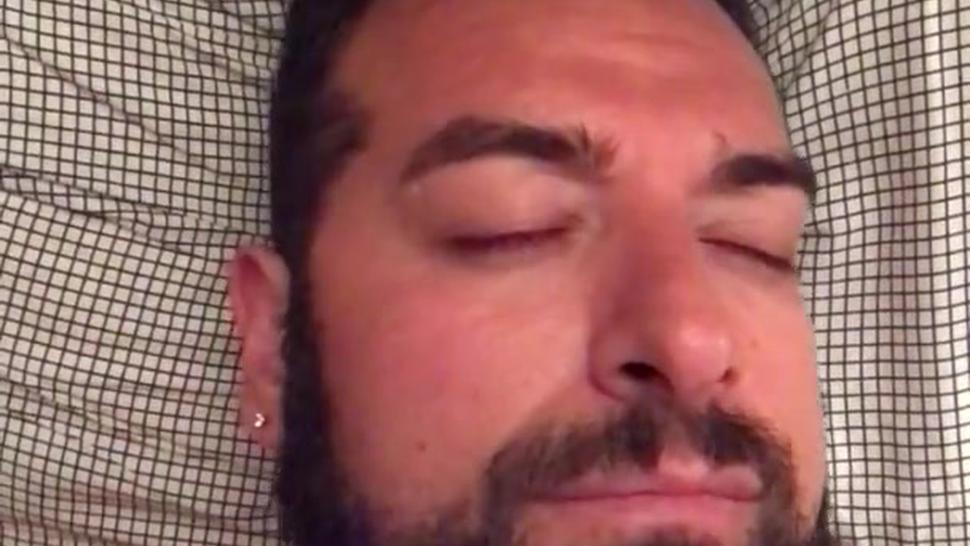Big hairy bearded bear woke up very horny and wanking in bed. Beautiful agony. Orgasm face