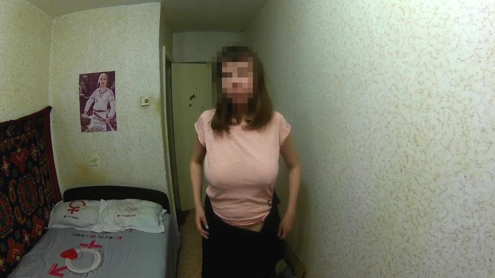 Sex with a Russian brunette with huge tits, hairy pussy, and a scar on her stomach. Quality blowjob
