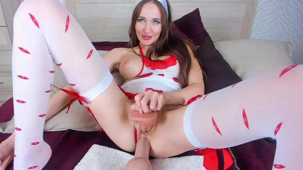 busty milf having fun with 2 dildos in ass and pussy