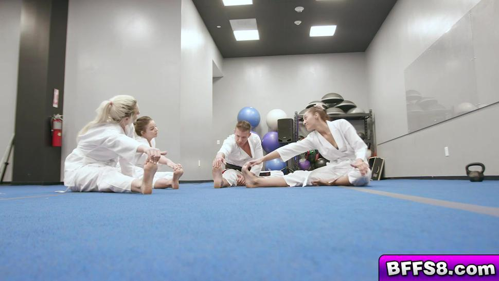 PETITE CITY - Licking and sucking fat cock in the middle of the dojo