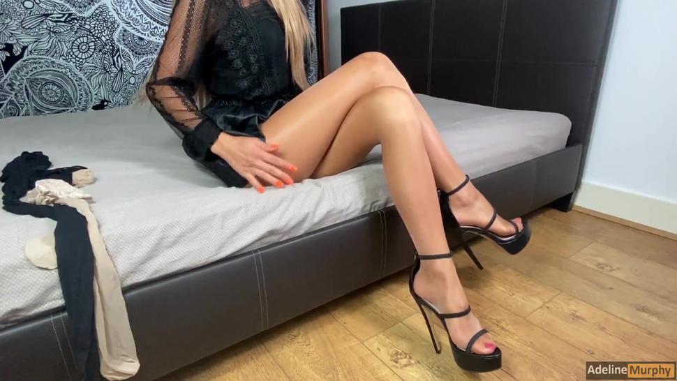 Horny Wife With Layered Pantyhose, Nylons & Stockings Gives Handjob. Massive Cumshot Onto Stockings