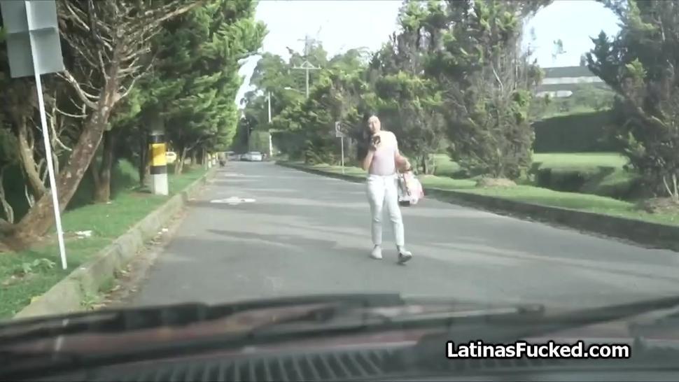 Innocent Latina next door ends up on casting cock