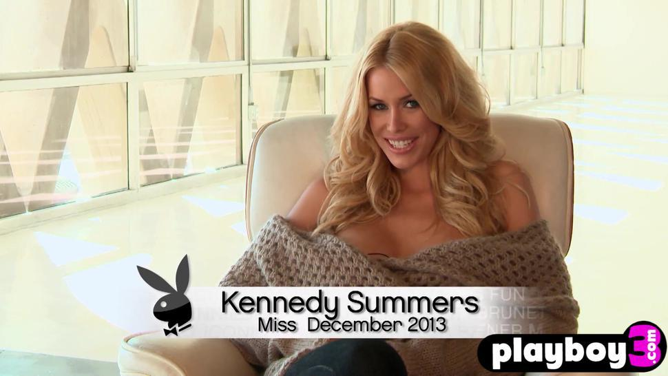 Sweet blonde MILF Kennedy Summers shows her nice big tits while posing