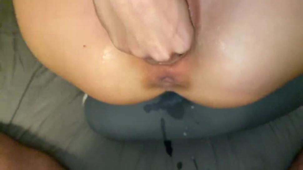 Daddy's little slut tried so rough to get her fist all the way in, but her cum filled pussy is just t