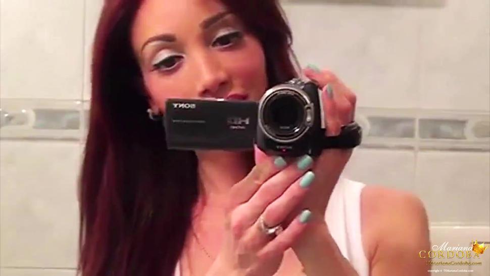 Self Shot Mariana Cordoba strips her lingerie