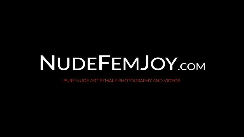 NUDE FEMJOY - Natural tits brunette Sade Mare outdoor sensual teasing
