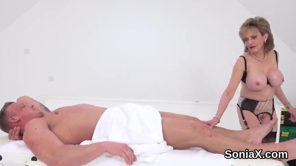 Unfaithful british mature lady sonia showcases her gigantic tits