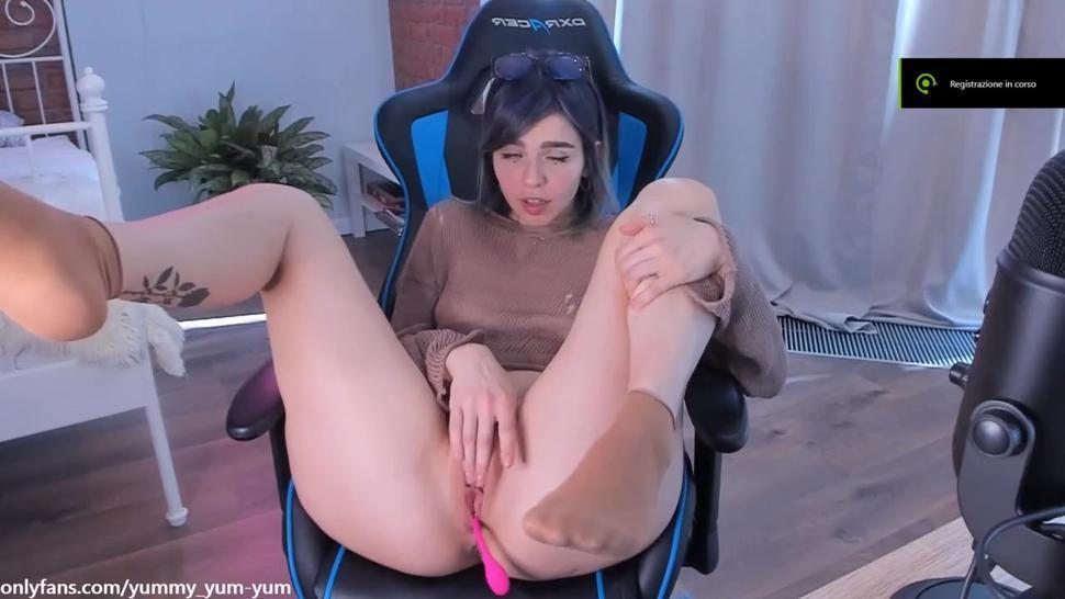 Cute girl mastubating on chair