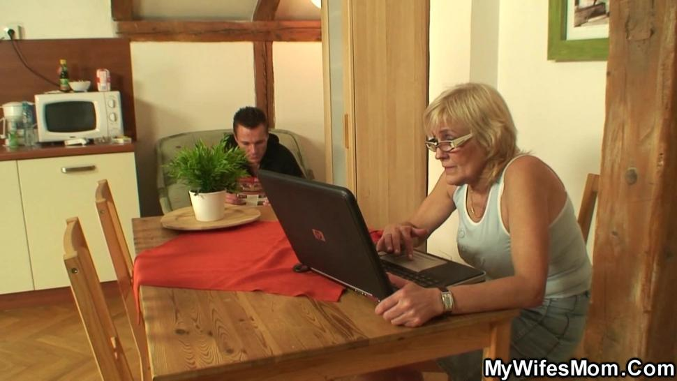 MYWIFESMOM - Shaved-pussy girlfriends mother swallows his cock