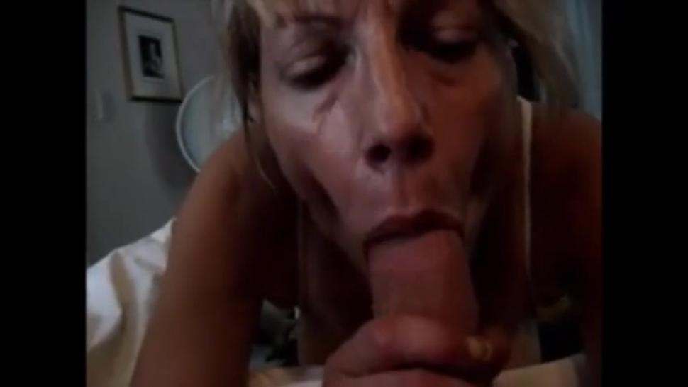 Mature wife sucking hubby cock and drink cum