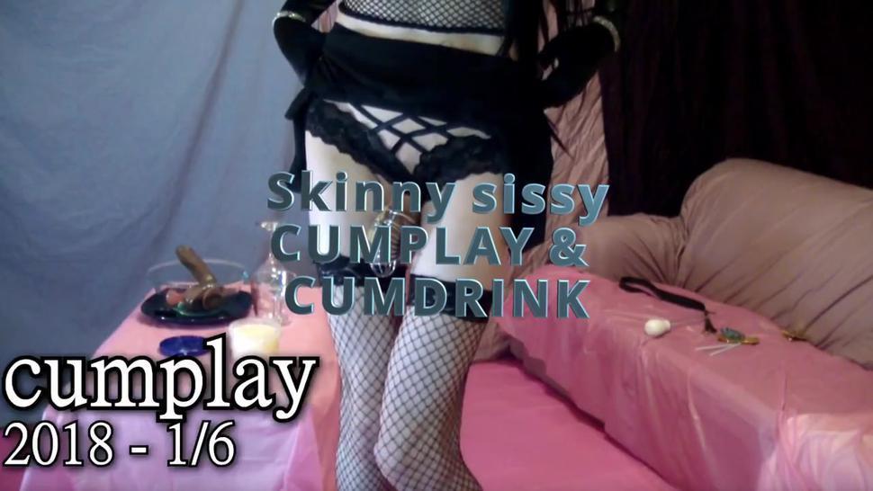 Sexy petite tranny sissy CD cumplay. Cum slut sperm drinking