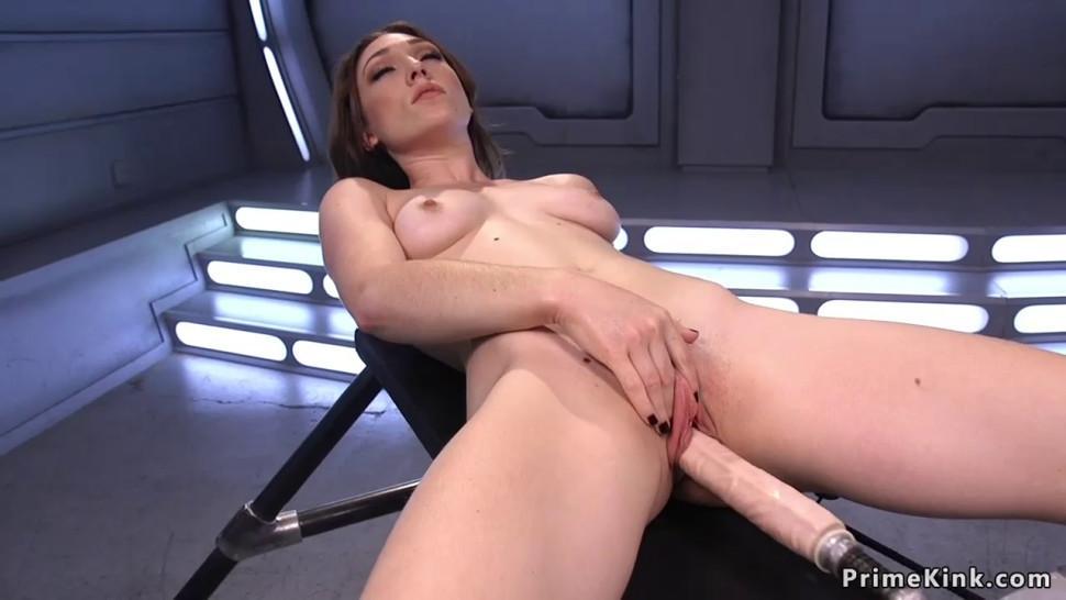 Long legged brunette banging machine