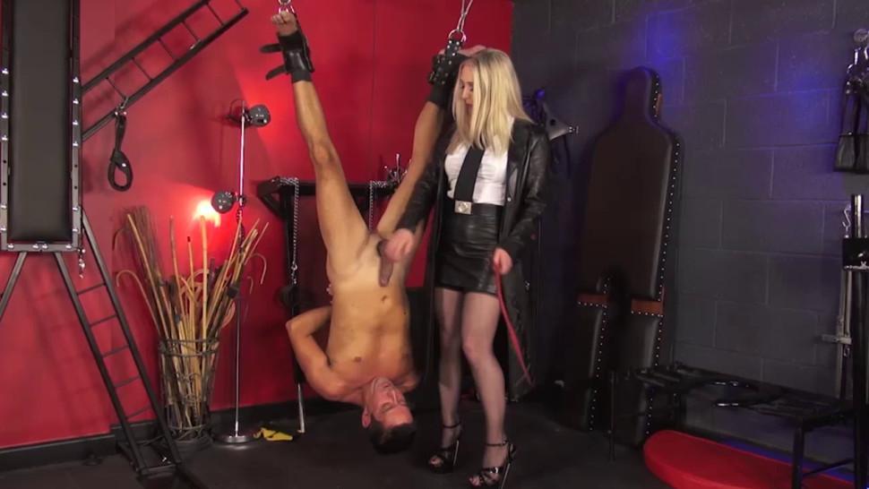 English mistress spanking her suspended sub
