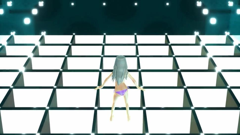 [3D MMD] Purple Bikini Girl Breast Expansion Dance (Rare) by Unknown