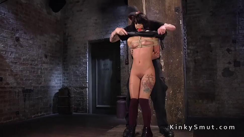 Hogtied petite slave pussy tormented