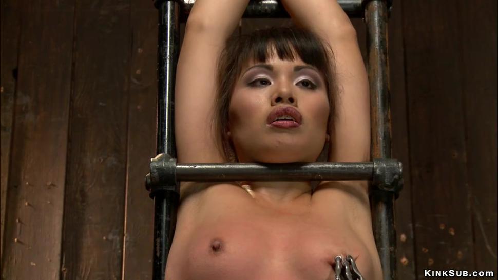 Asian slave on device bondage whipped