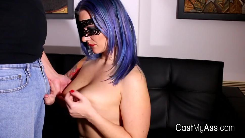 Curvy big tit milks cock and titty fucks in mask