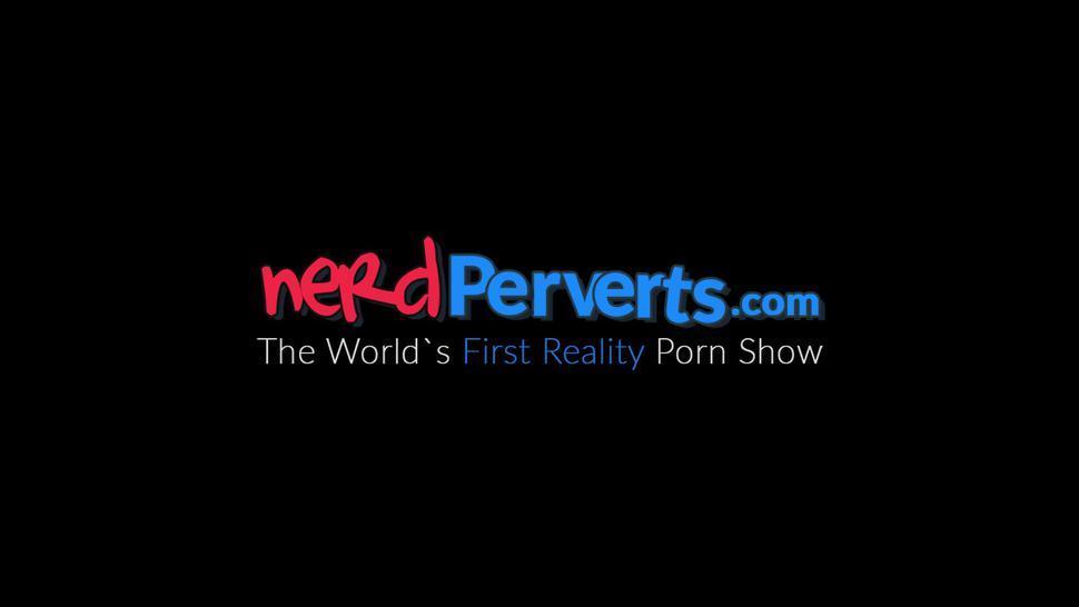 NERD PERVERTS - Horny natural tits MILF Jodie Cummings blows nerds dick POV