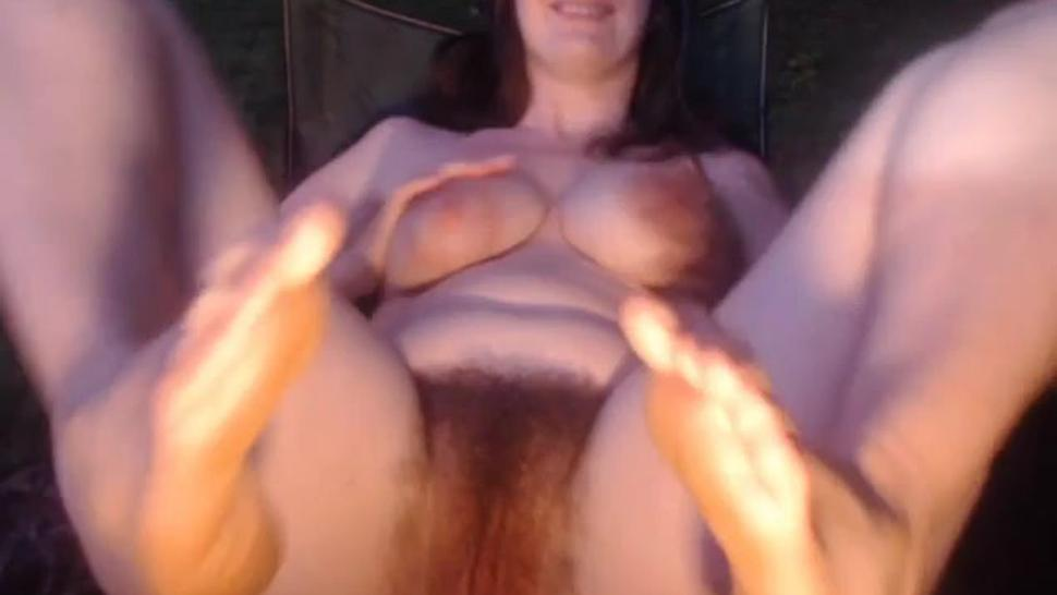 Natural redhead MILF shows off bush and butthole