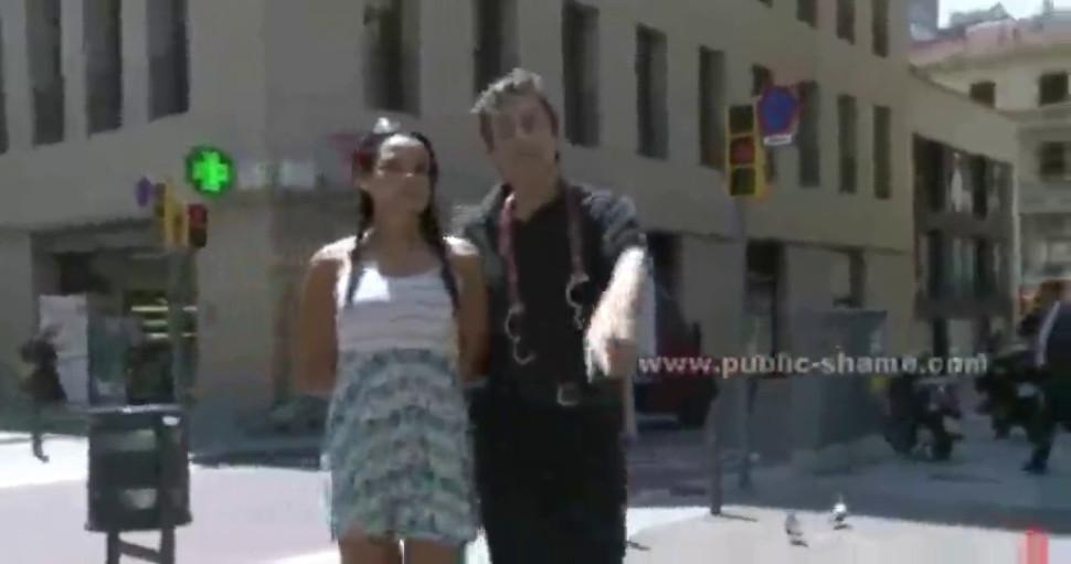 Awesome sexy brunette tied with her tits naked on a street then r