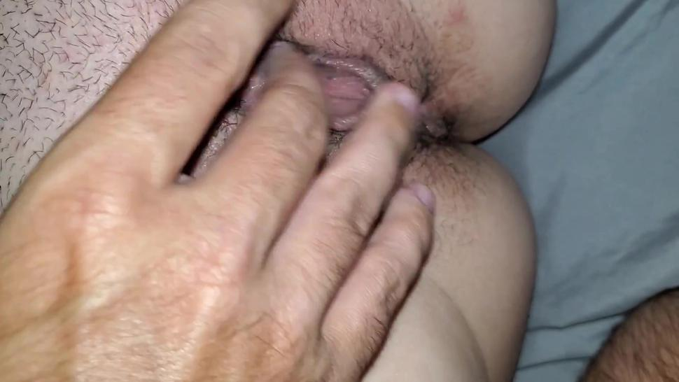 Tight pussy gets extremely wet by getting finger fucked