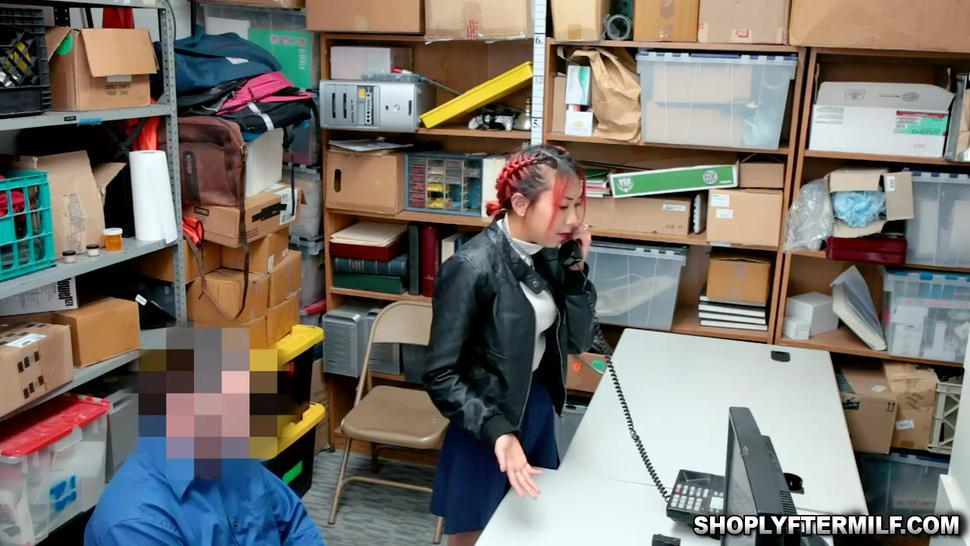 Stepmom  Christy takes a mouthful of cum from officer Jack