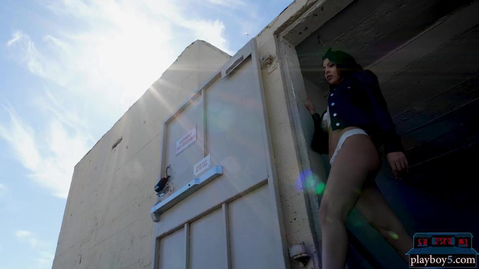 Hot big boobs latina Divina Almeraz public rooftop striptease