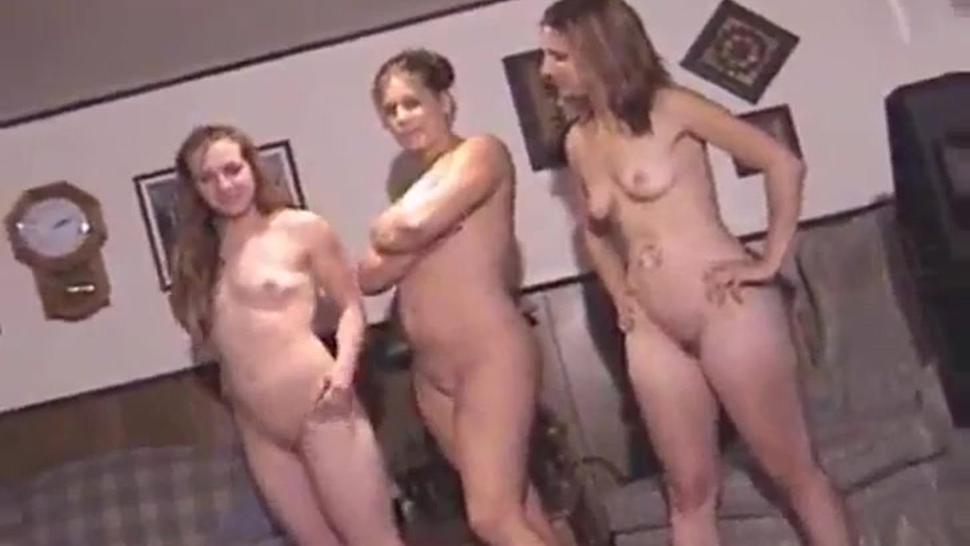 Naked and unashamed girls + one guy