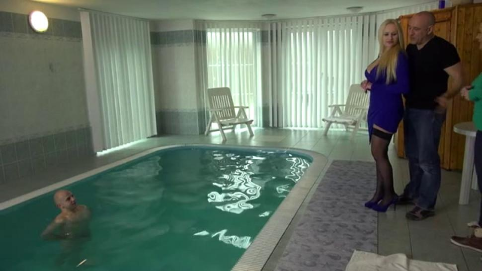 We fucked Charlie in the swimming pool