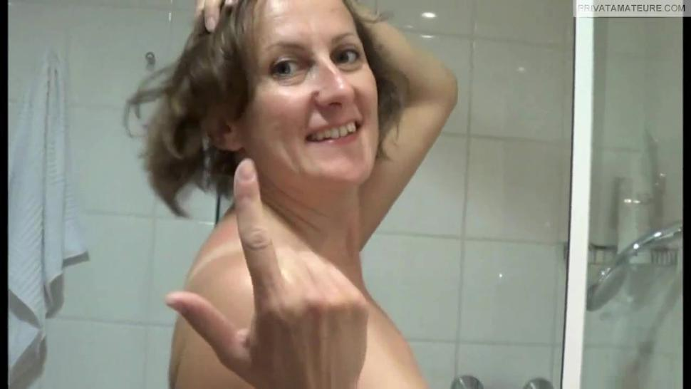 Super busty hungarian milf playing in the shower