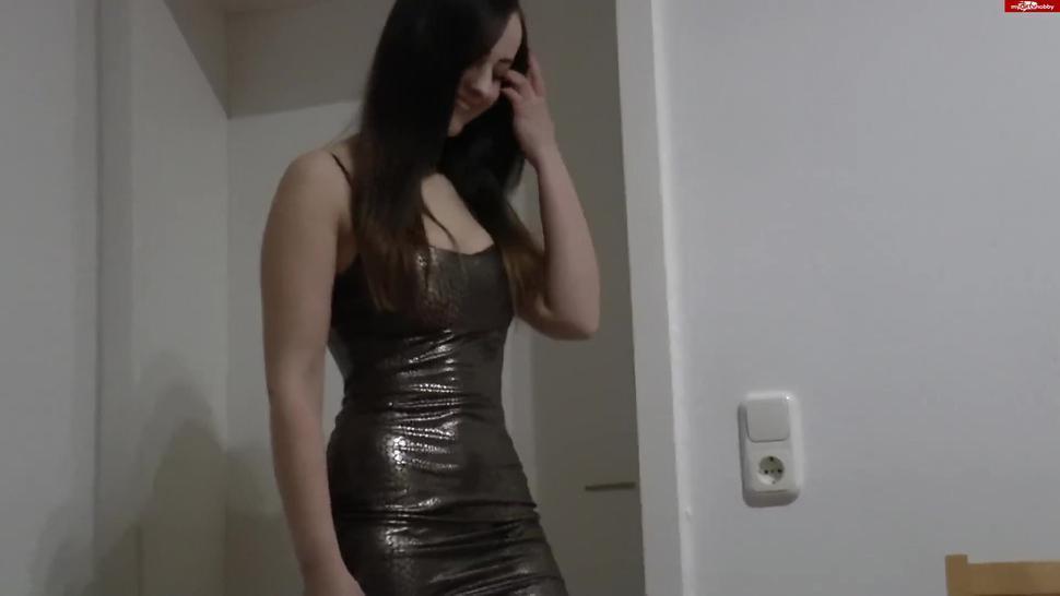 Chloe in tight dress