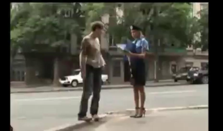 Sexy Police Woman lost her skirt in public
