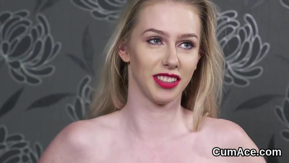 Naughty sex kitten gets jizz load on her face swallowing all the jizm