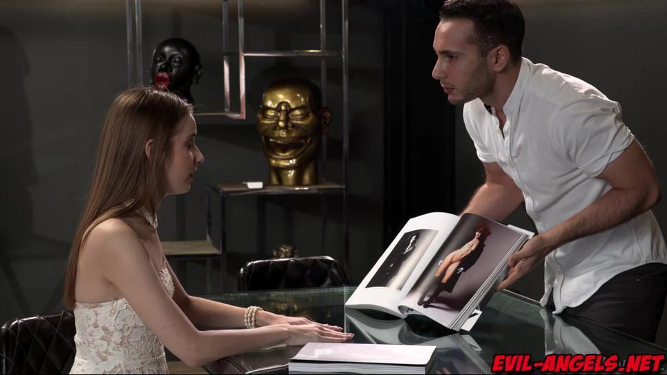 Raul Costa asks brunette Jessica Portman to strip