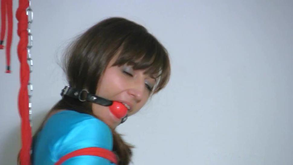 cute pretty beautiful innocent submissive rough tied up ball gagged stand shiny tight sport outfit
