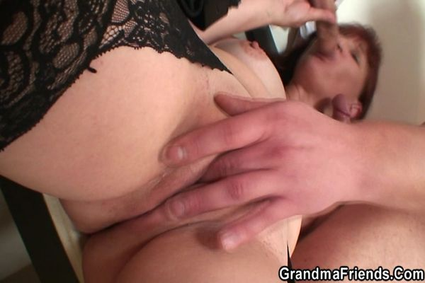 Granny plays with big cock think