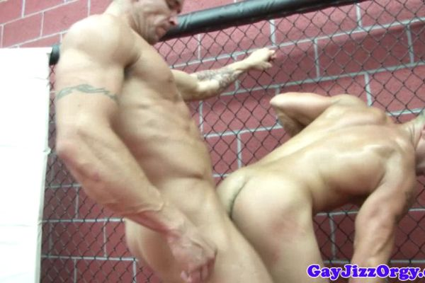 Muscly hunk sperm sprayed