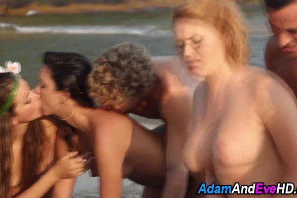 Hot babes sexy beach orgy