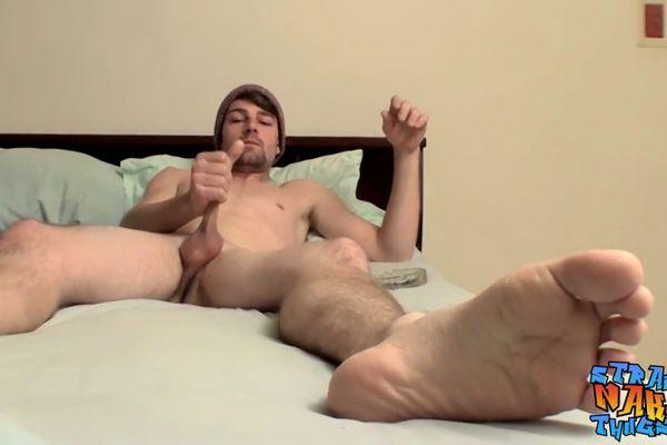Solo jock tugging his big cock