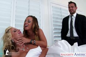 Sexy babes Jada Stevens and Phoenix Marie share cock at wedd...
