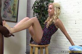 Odette Delacroix rubs big black cock with her feet