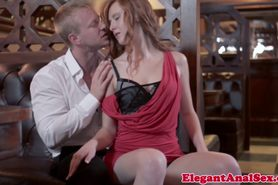 Gorgeous redhead facialized after assfucking