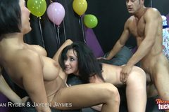 2 Hot Brunettes With Big Fake Tits And Big Booties Have A Threesome!