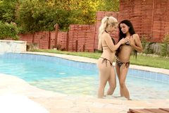 Sapphicerotica poolside sex session with blonde and brunette