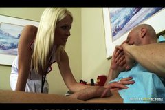 Slutty huge-tit blonde nurse Eden Adams rides hard dick to orgasm